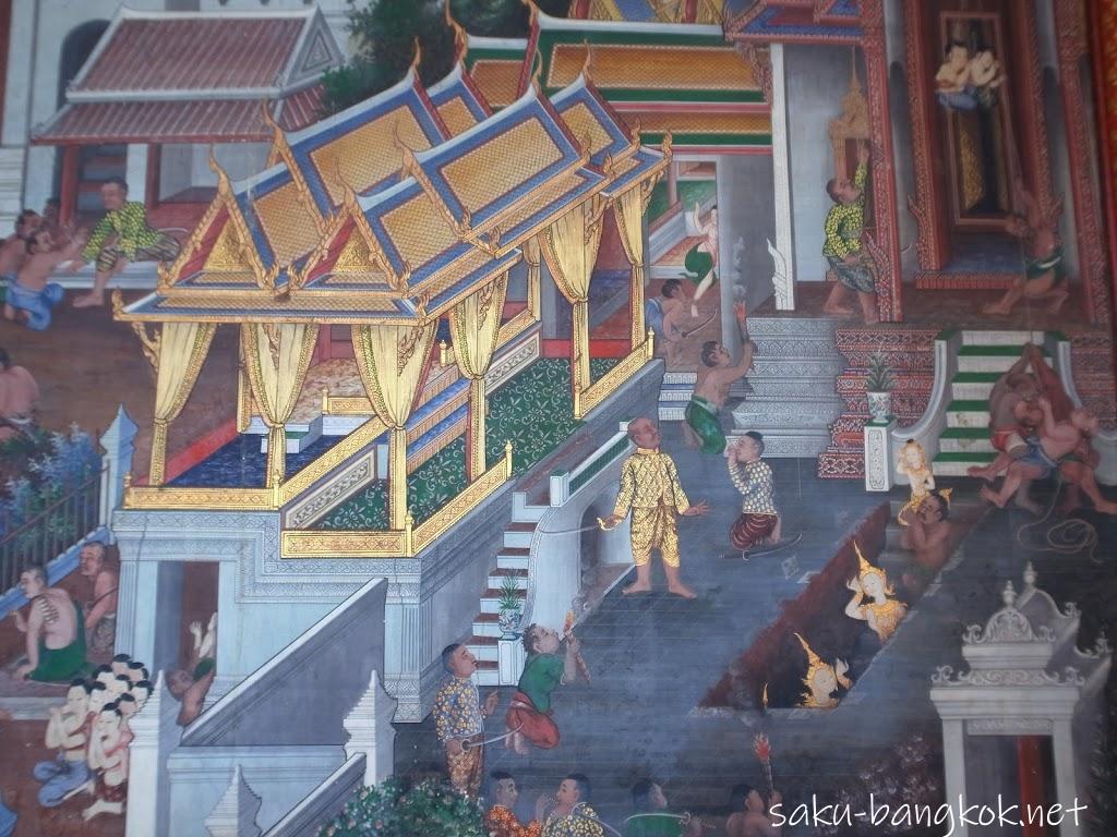 ワット・アルンの本堂内の壁画