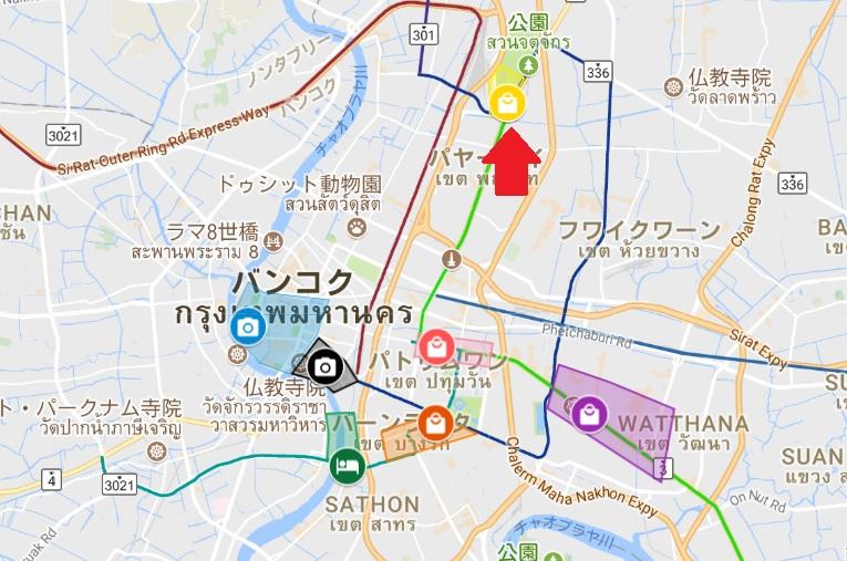 チャトチャックウィークエンドマーケットエリアの地図