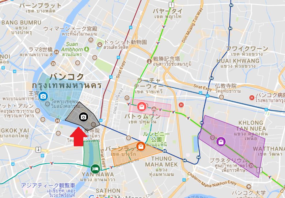 ヤワラート(中華街)エリアの地図