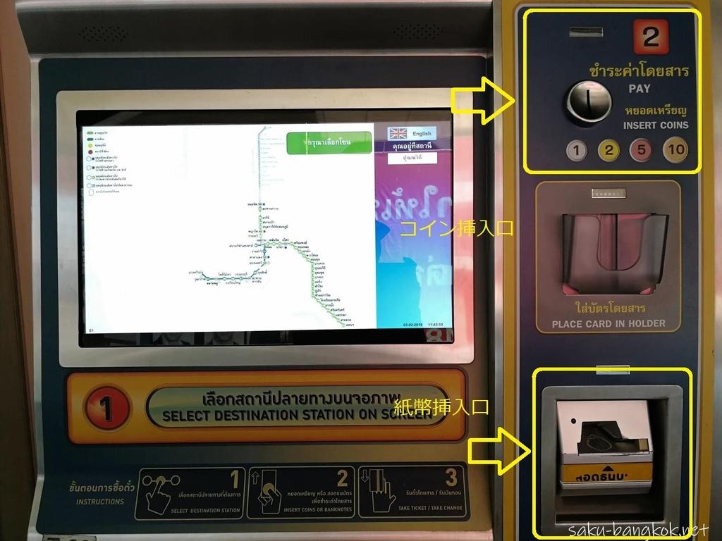 BTSの券売機 コインと紙幣の挿入口