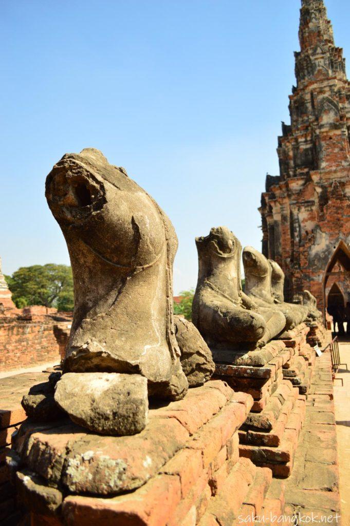 ビルマ軍の破壊の爪痕が残るワットチャイワッタナーラム