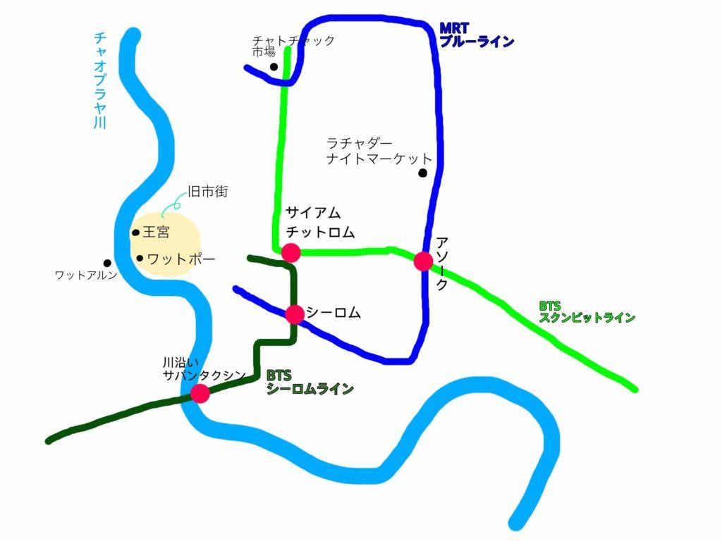 バンコクの交通概略図