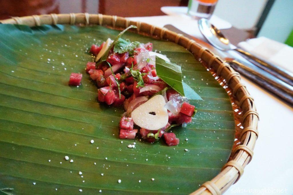 Raw wagyu beef salad, aloe vera, fresh herbs from our garden