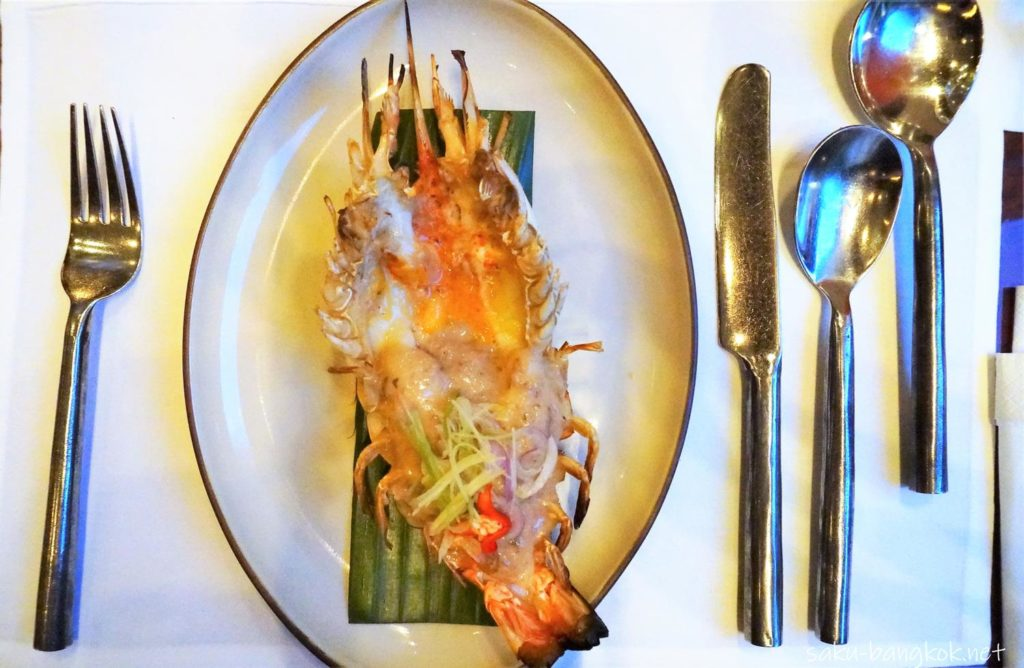 Grilled river prawn, salted baby shrimps cooked in fresh coconut milk