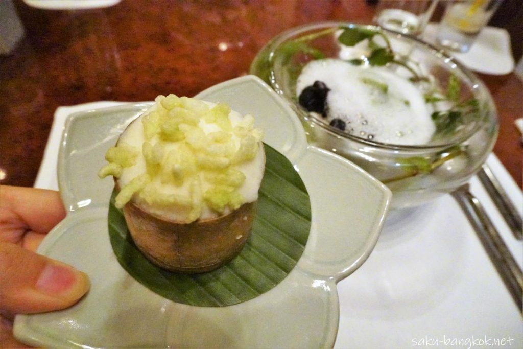 Fermented glutinous rice ice cream and crispy young glutinous rice