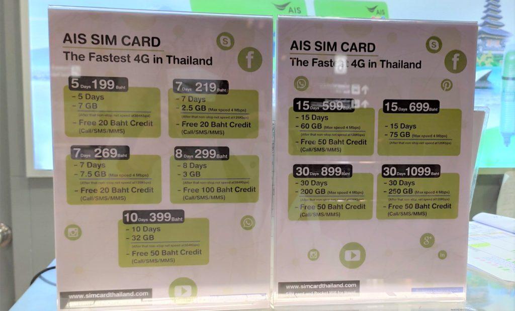 ドンムアン空港AISのSIMの価格