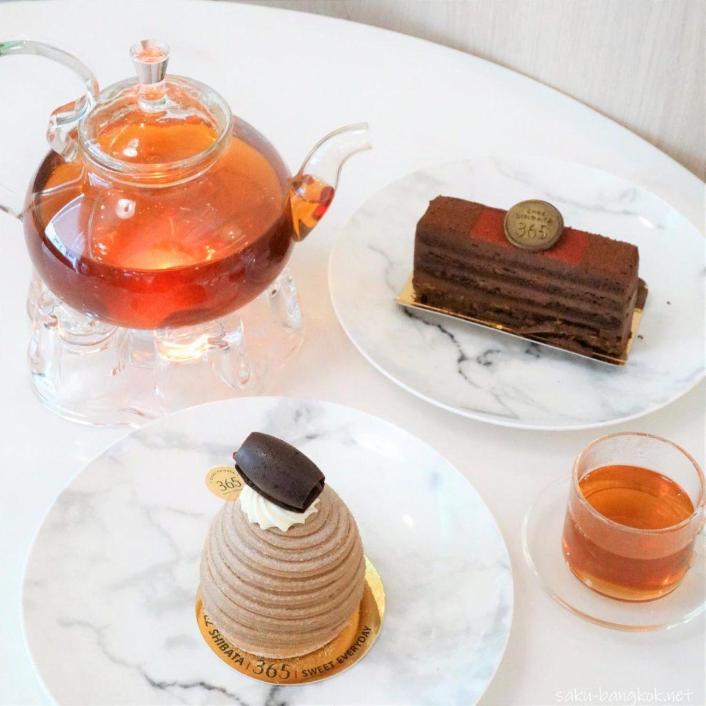 バンコクのケーキ屋さん シェ・シバタ365のケーキとお茶