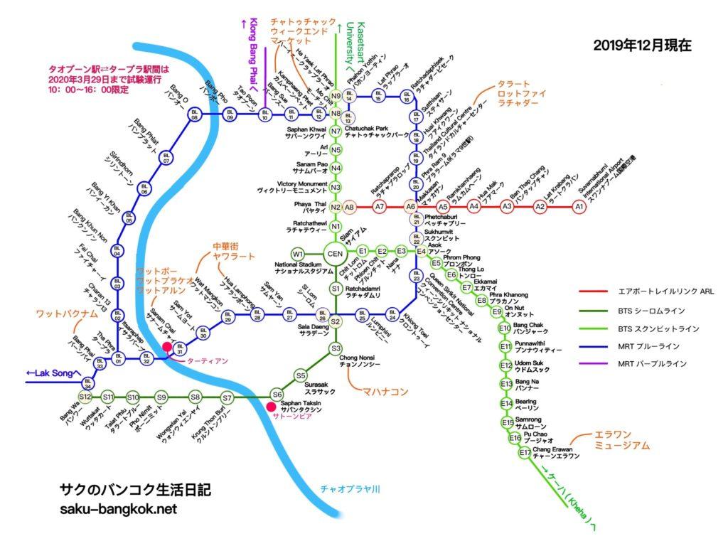 バンコク路線図2019年12月23日現在