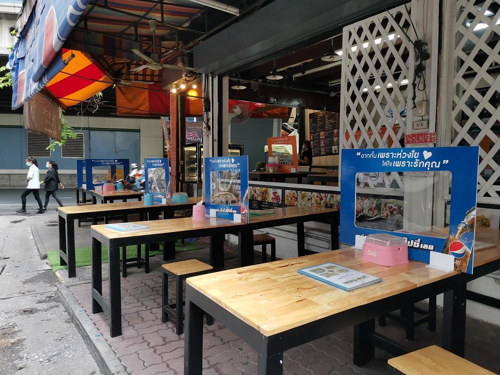 タイのローカル食堂でのコロナウイルス対策