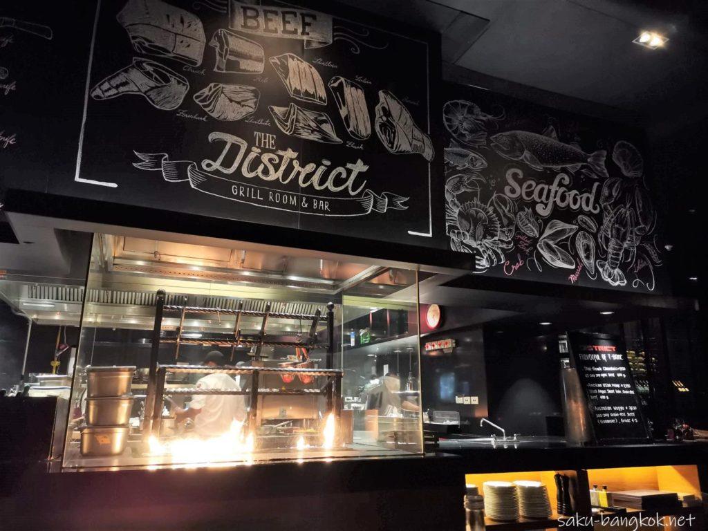 バンコクマリオットホテルスクンビット内のステーキハウス【The District Grill Room & Bar】のキッチン