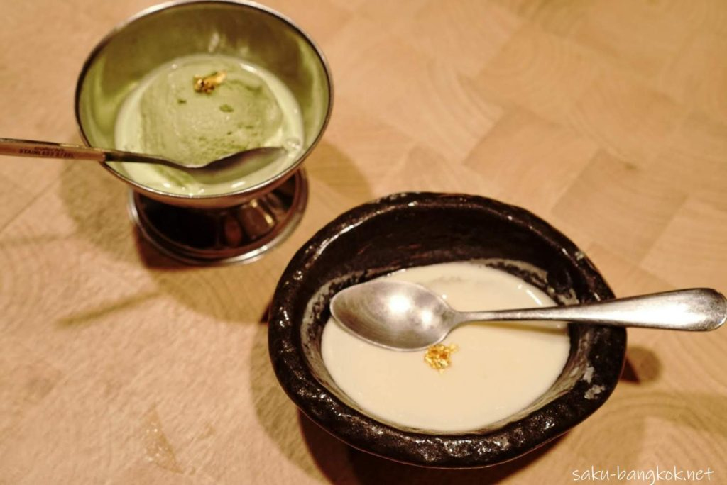 バンコクの焼肉やさん【肉匠】限定の匠コース 甘味の抹茶アイスクリームと杏仁豆腐